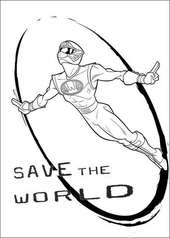 Power Ranger Wants To Save The World  coloring page