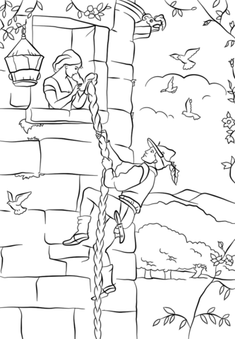 Prince Climbs up Rapunzel's Tower coloring page