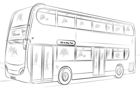 Double-decker bus coloring page