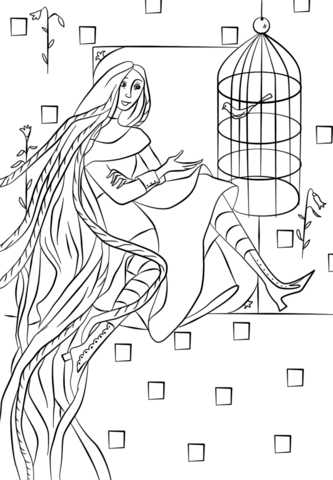 Rapunzel in Her Tower coloring page
