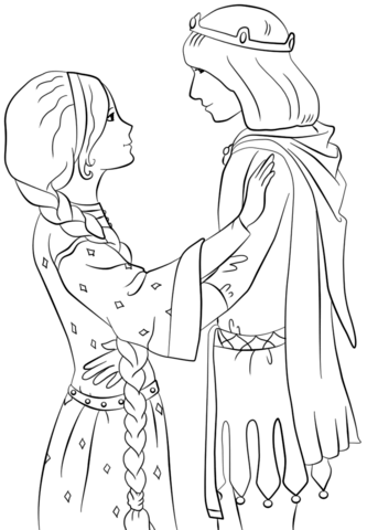 Rapunzel with Prince coloring page