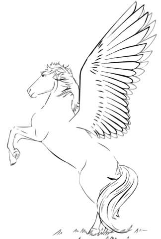 Valkyrie Riding Pegasus coloring page - Free Printable Coloring Pages
