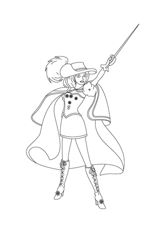 Renne Raises Her Sword Up High coloring page