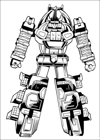 The Megazord is Ready To Fight  coloring page