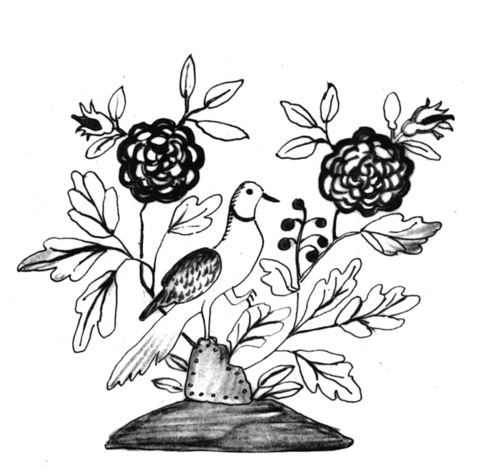 Roses in blossom with a bird coloring page