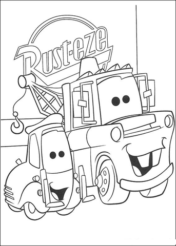Rust-Eze logo behind Mater  coloring page