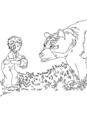 Sal Meets a Bear coloring page