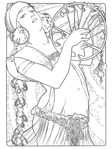 Salome by Alphonse Mucha coloring page