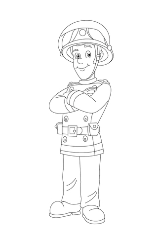 Fireman Sam is Waiting Confidently coloring page
