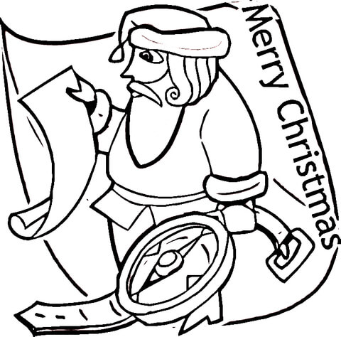 Santa With Compass  coloring page