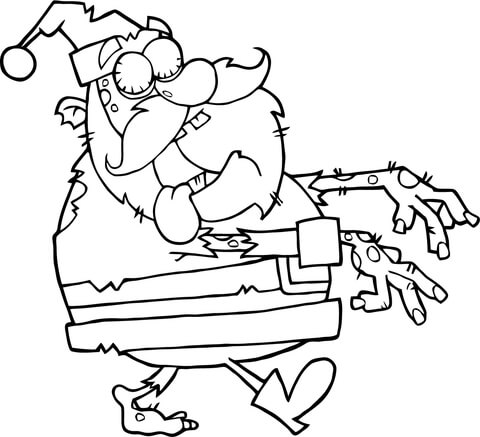 happy zombie coloring page santa zombie walking with hands in front coloring page