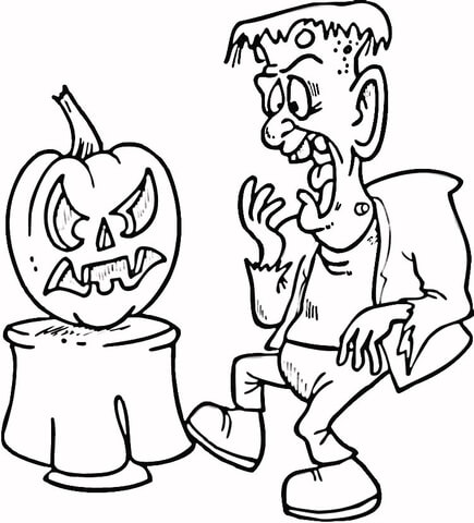 Scared Frankenstein coloring page