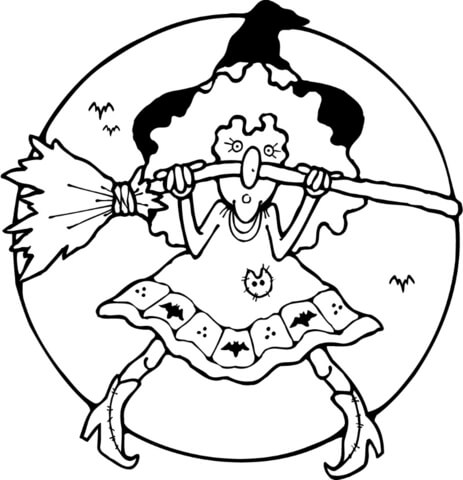 Witch with her broom  coloring page
