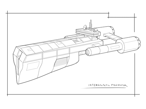 radio telescope coloring page sci fi intergalactic space freighter coloring page