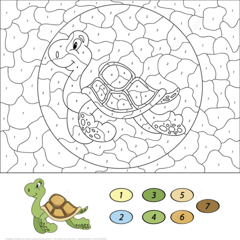 Sea Turtle Color by Number coloring page