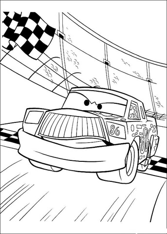 Chick Hicks crosses the finish line coloring page