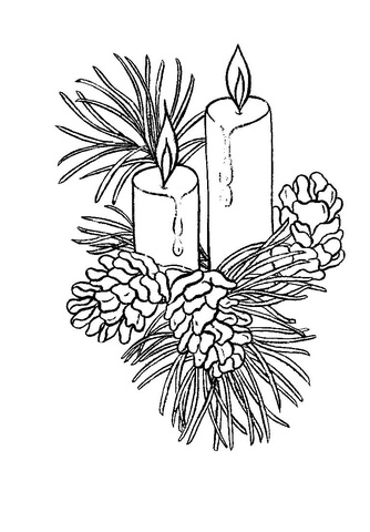 Beautiful Christmas candles  coloring page
