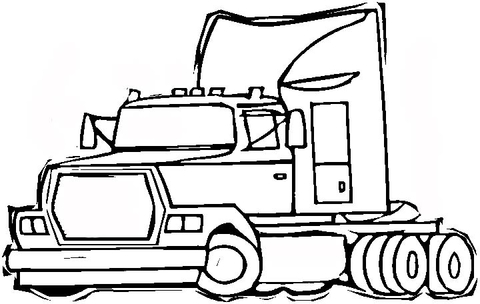 Semi-trailer truck coloring page - Free Printable Coloring Pages