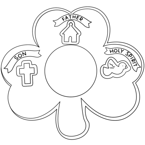 Shamrock Holy Trinity coloring page