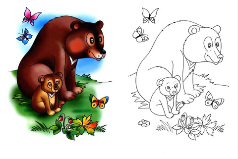 She-Bear And Bear Cub coloring page