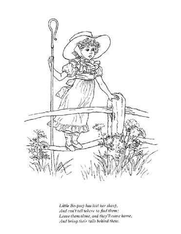 Little Bo Peep Has Lost Her Sheep Coloring Page