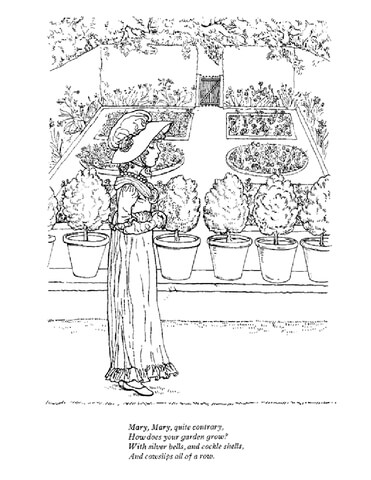 Mary, Mary, Quite Contrary nursery rhyme coloring page