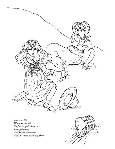 Jack and Jill Went Up the Hill coloring page