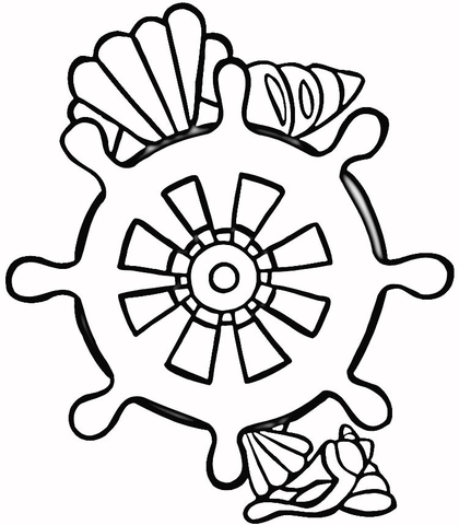 Shells and rudder coloring page