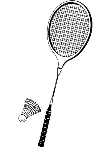 Shuttlecock and Badminton Racket coloring page