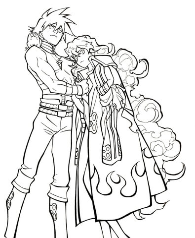 Simon and Nia from Tengen Toppa Gurren Lagann coloring page