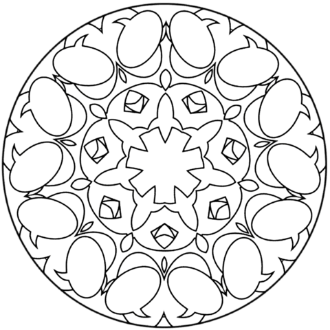 Simple Abstract Mandala coloring page