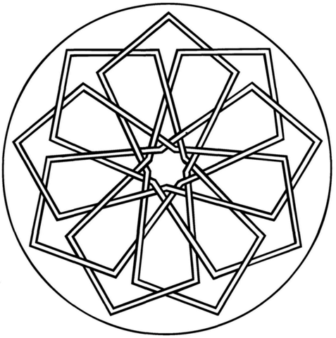 Simple Geometric Mandala coloring page