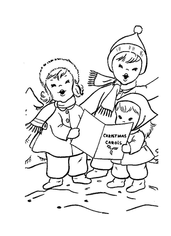 Children are singing Christmas carols  coloring page
