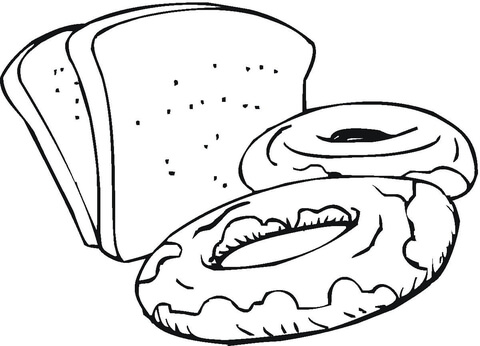Slices of Bread and Sweets coloring page