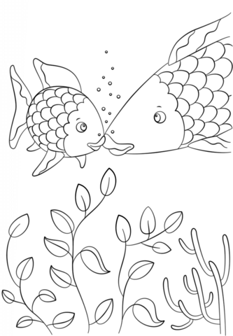 Small Fish Speaks To Rainbow Fish Coloring Page Free Printable