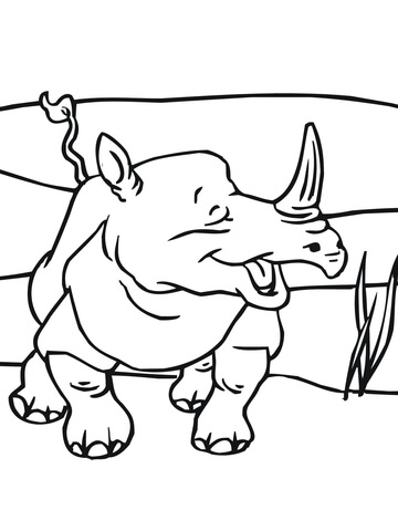 Smiling Rhino Coloring Page Free Printable Coloring Pages