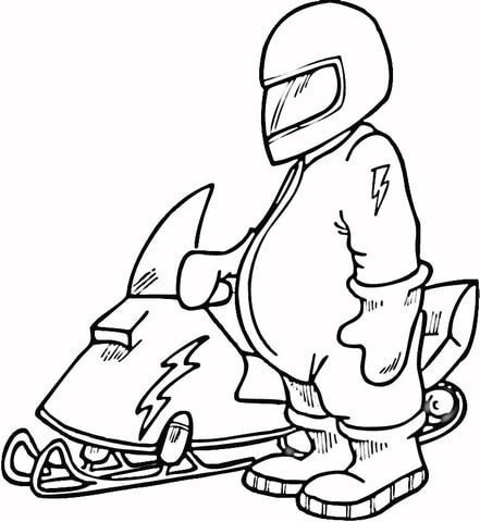 Snowmobile Driver coloring page