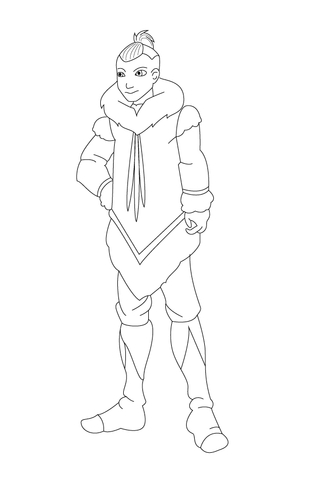 Sokka Is Wrapped Up Warm coloring page