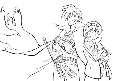 Kamina-sama and Simon from Tengen Toppa Gurren Lagann coloring page
