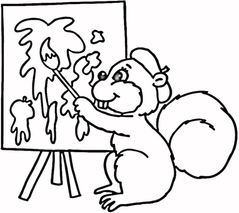 Squirrel Painter  Coloring page