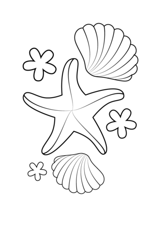 Starfish Teacher Coloring Page And Shells