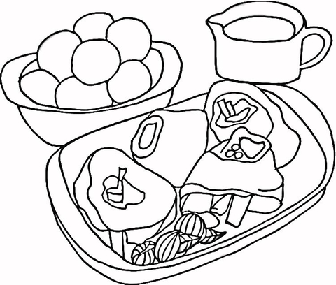 Steak with Potatoes  coloring page