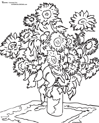 Sunflower By Claude Monet  coloring page