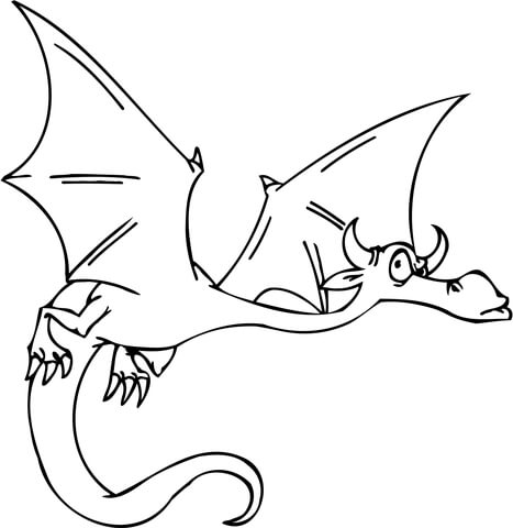 Suspicious Flying Dragon coloring page