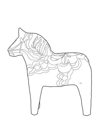 Swedish Dala Horse Coloring Page