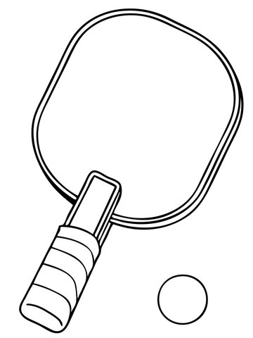 Table Tennis Racket and Ball coloring page