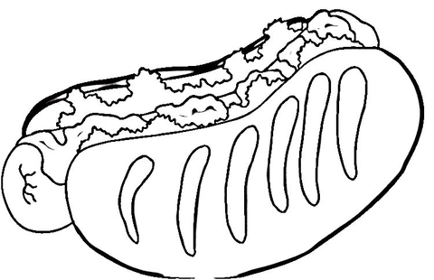 Tasty Hot Dog  coloring page