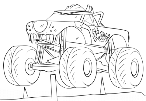 Taz Monster Truck Coloring Page