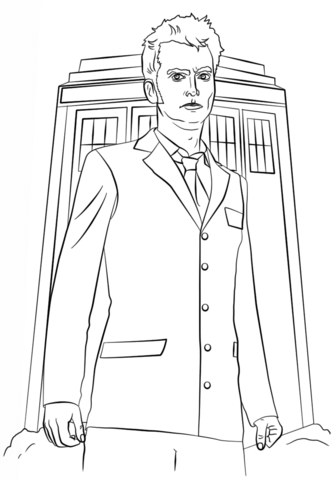 Tardis from Doctor Who coloring page - Free Printable Coloring Pages