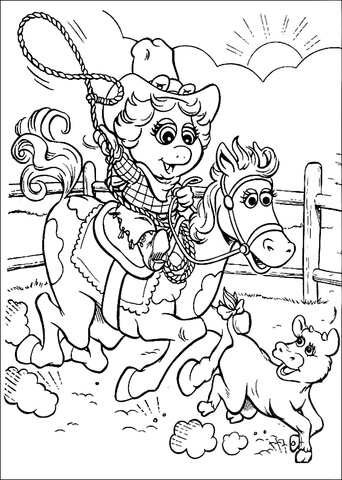 Baby Miss Piggy cowgirl coloring page - Free Printable Coloring Pages